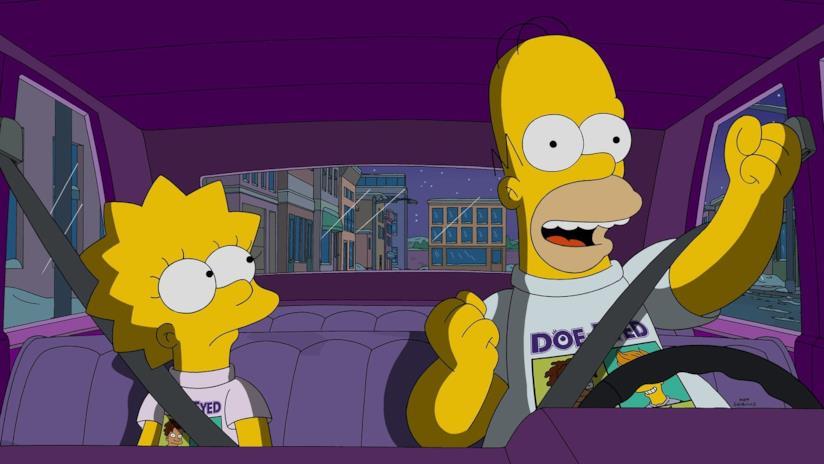 Homer in auto con sua figlia Lisa