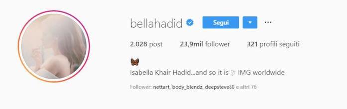 Profilo Instagram di Bella Hadid