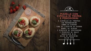 Pizzelle con cipolla e pomodorini
