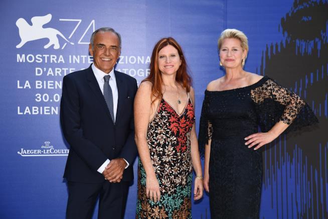Alberto Barbera, Susanna Nicchiarelli e Trine Dyrholm a Venezia 74
