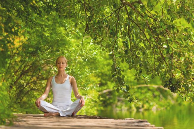 Una ragazza medita nella natura