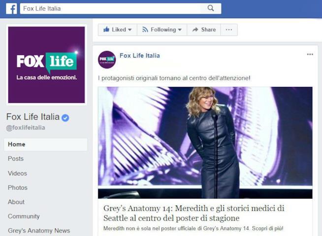 Grey's Anatomy su Facebook