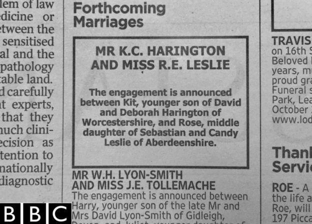 Un paragrafo sul Times riguardo il fidanzamento di Kit e Rose