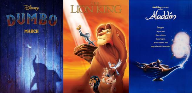 I poster dei film Disney Dumbo,Il re leone e Aladdin