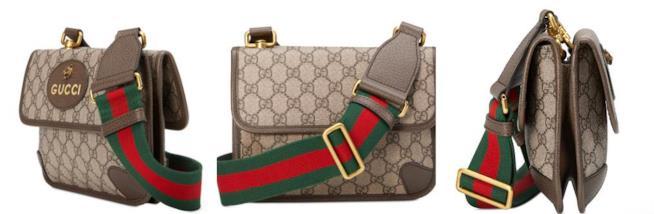 Tre angolazioni della borsa GG Supreme Gucci