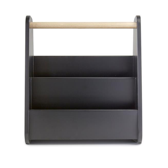 Portariviste in PVC nero con manico in legno di Umbra