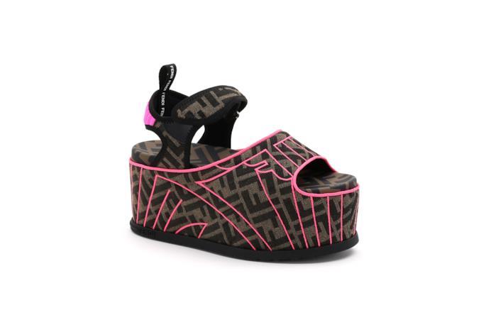 Sandalo in tessuto multicolor