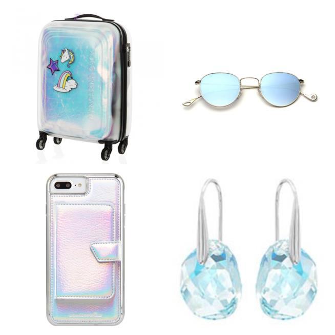 Valigia, gioielli, cover per cellulare iridescenti