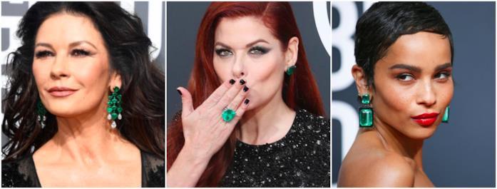 Tre dive con gli smeraldi sul red carpet Golden Globes