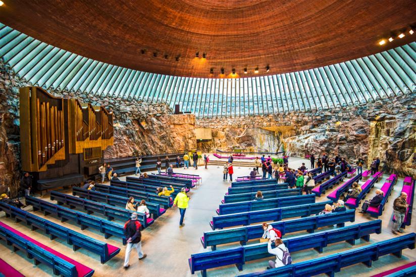 Uno dei luoghi di interesse più originali di Helsinki: la Chiesa nella Roccia