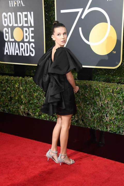 Millie Bobby Brown sul red carpet dei Golden Globes 2018