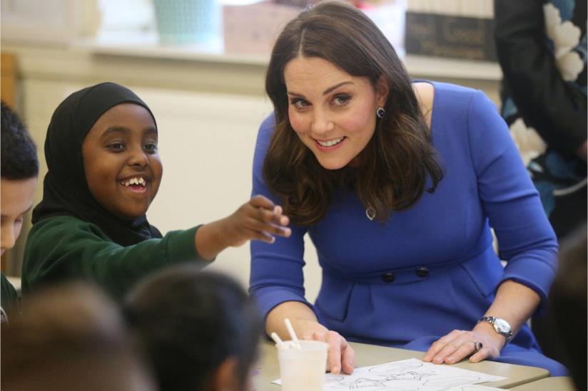 La duchessa di Cambridge in una scuola a Londra