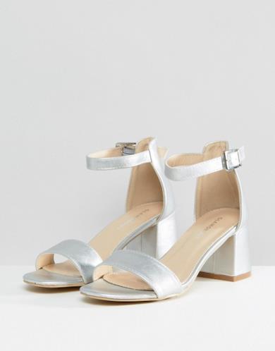 Sandali con tacco largo color argento