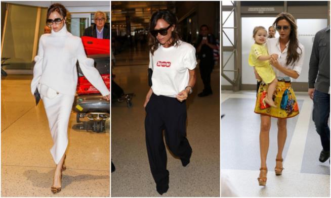 I look di Victoria Beckham in aeroporto