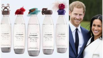 Collage tra bottiglie Sodastream e Harry e Meghan