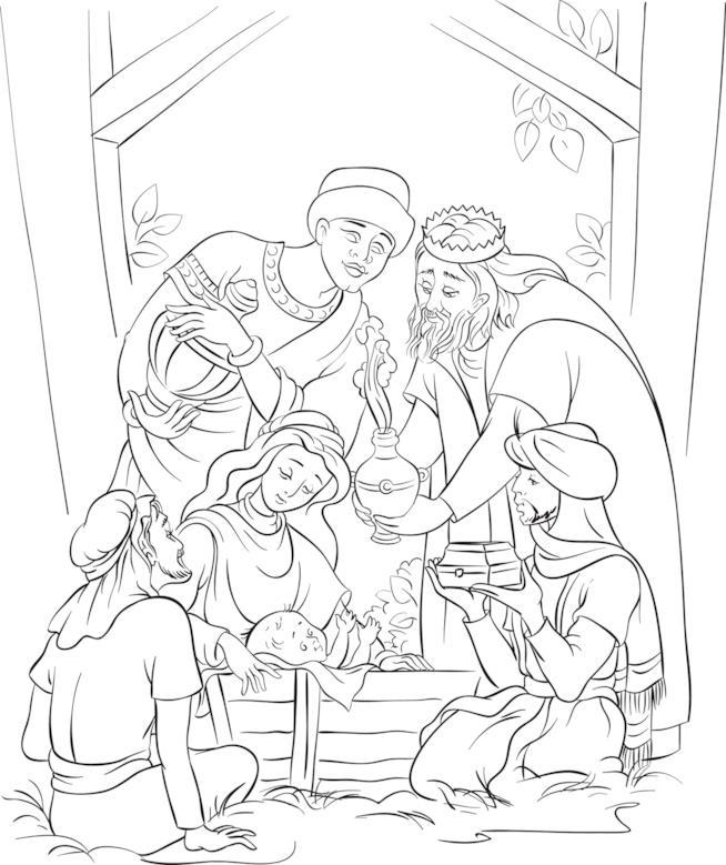 Il disegno della nascita Gesù con i Re Magi che portano i doni