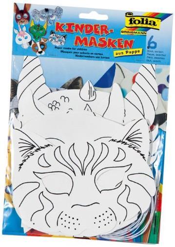Maschere per bambini in cartone, 6pezzi assortiti