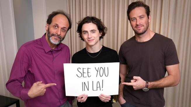 Luca Guadagino Timothée Chalamet e Armie Hammer aspettano i fan a Los Angeles