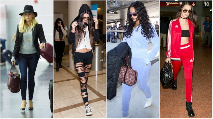 Un collage di look in aeroporto