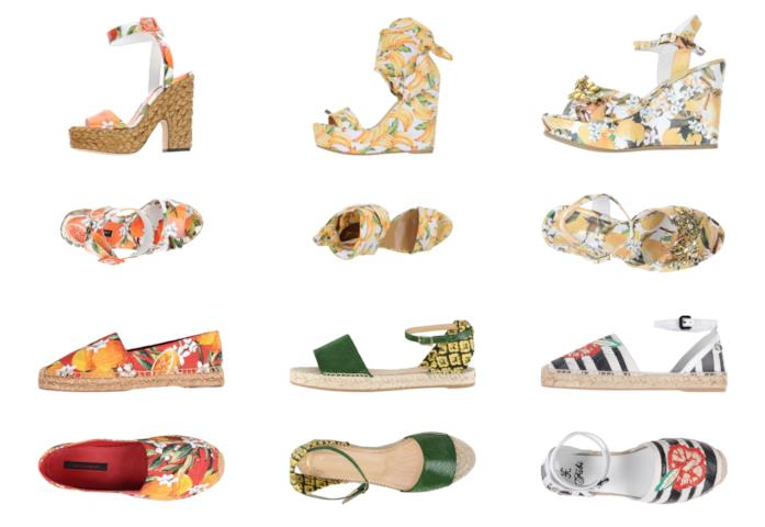 Con le stampe della frutta, le scarpe di tendenza per l'estate 2018