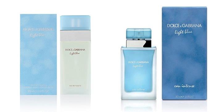 La versione classica Light Blue e quella intense della fragranza firmata Dolce&Gabbana