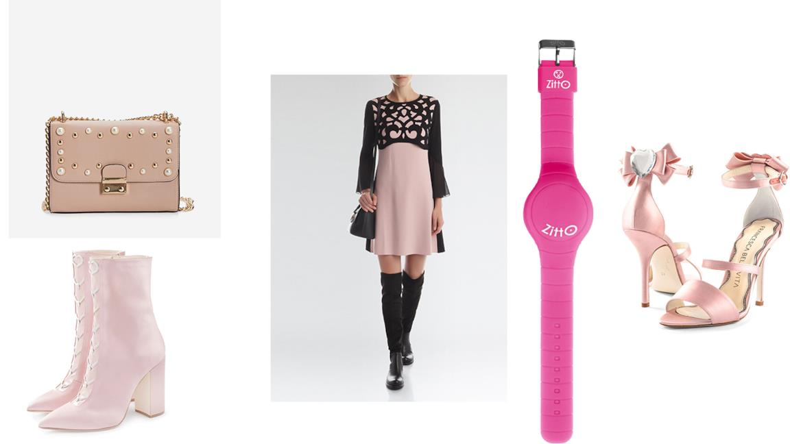 Gli accessori e i vestiti in rosa
