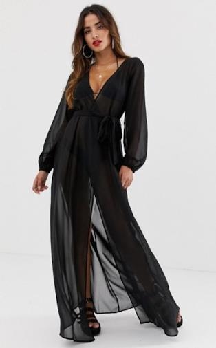 Kimono lungo a maniche lunghe nero da spiaggia a portafoglio in tessuto riciclato