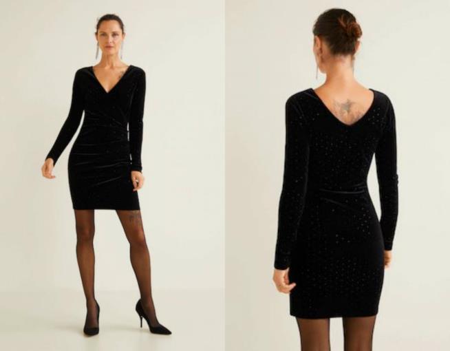 Vestito corto nero in velluto moda autunno 2018