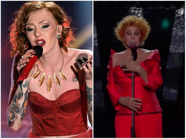 Collage tra Eva e Ornella Vanoni in rosso