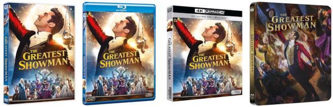 quattro edizioni home video di The Greatest Showman