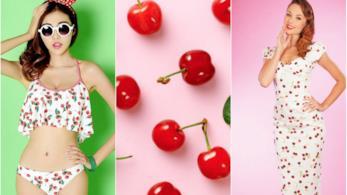 Collage tra sfondo con ciliegie e Kaia Gerber con una cherry print