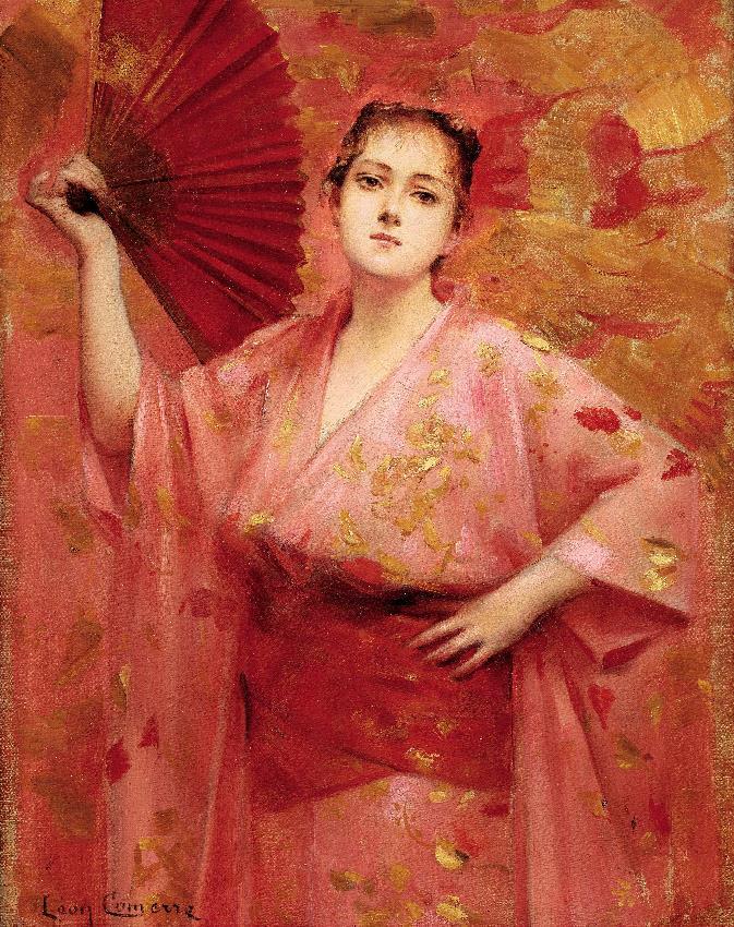 Comerre Léon-François, Ritratto della signorina Achille-Fould in abito giapponese, 1885 circa, Olio su tela, collezione privata