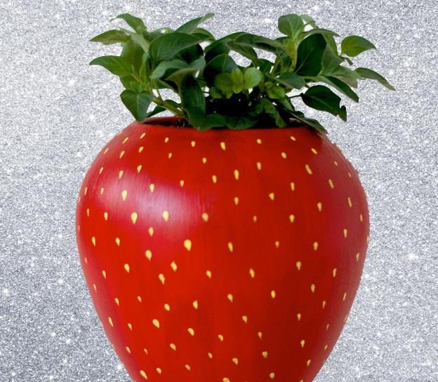 un simpatico vaso a forma di fragola