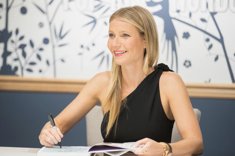 Primo piano di Gwyneth Paltrow durante una conferenza