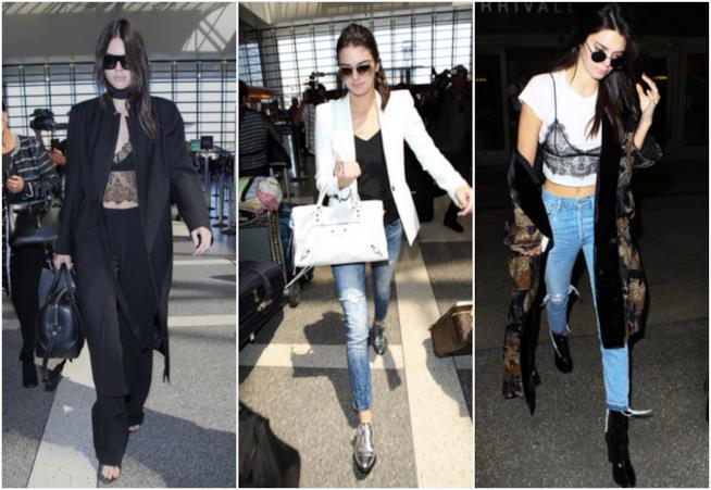 Tre look di Kendall Jenner in aeroporto