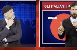Primi piani di Max Pezzali e Maurizio Carucci, in nero. Carucci davanti a un grafico