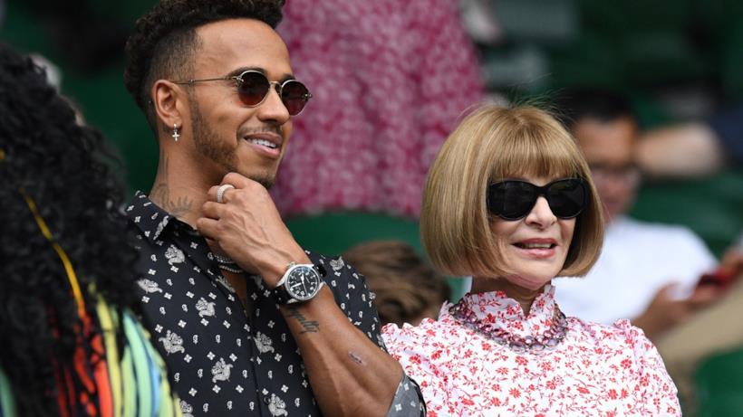 Anna Wintour a Wimbledon con Lewis Hamilton