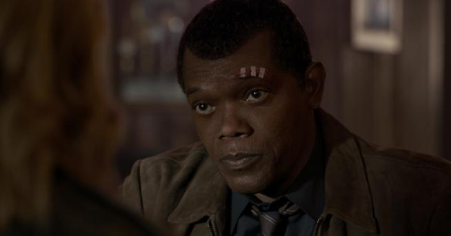 Samuel L. Jackson in una scena di Captain Marvel