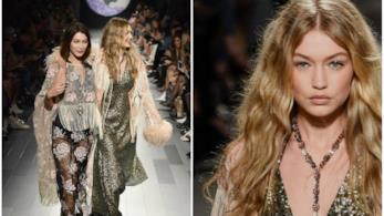 Gigi Hadid sfila per Anna Sui sorretta da Bella Hadid