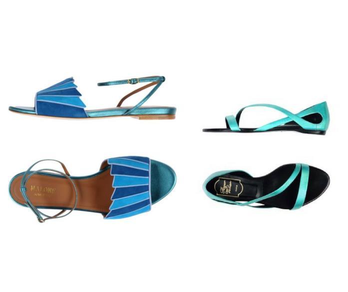 Sandali flat da donna con fascette e lacci alla caviglia