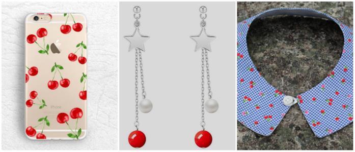 Collage di accessori con ciliegie