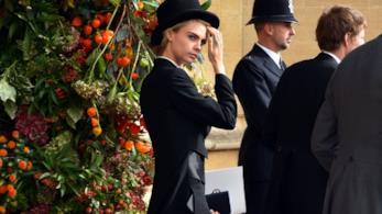 Cara Delevingne al matrimonio della Principessa Eugenia