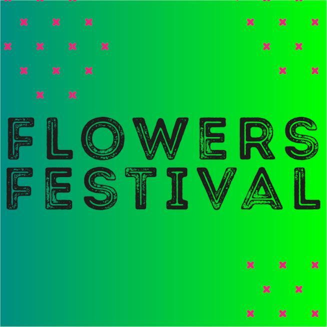La scritta Flowers Festival su sfondo verde
