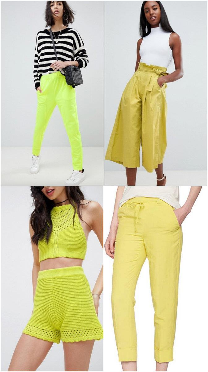 Collage di pantaloni lime