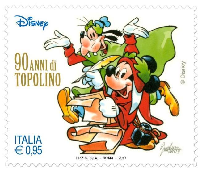 Uno degli otto francobolli dedicati ai 90 anni di Topolino