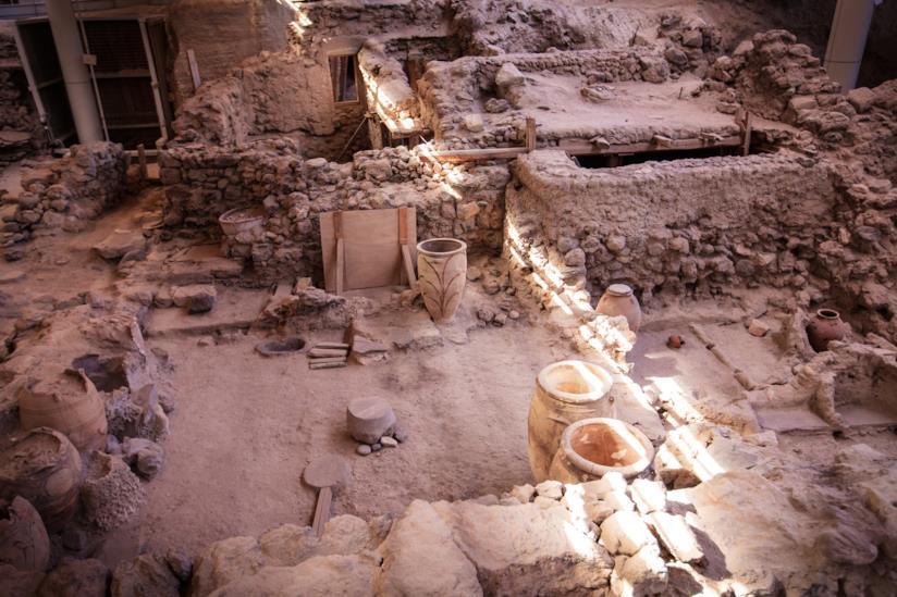 Antica manufatti in Akrotiri di Santorini Thira