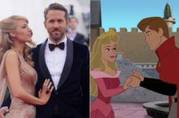Collage tra Blake Lively e Ryan Reynolds e Aurora e il principe Filippo