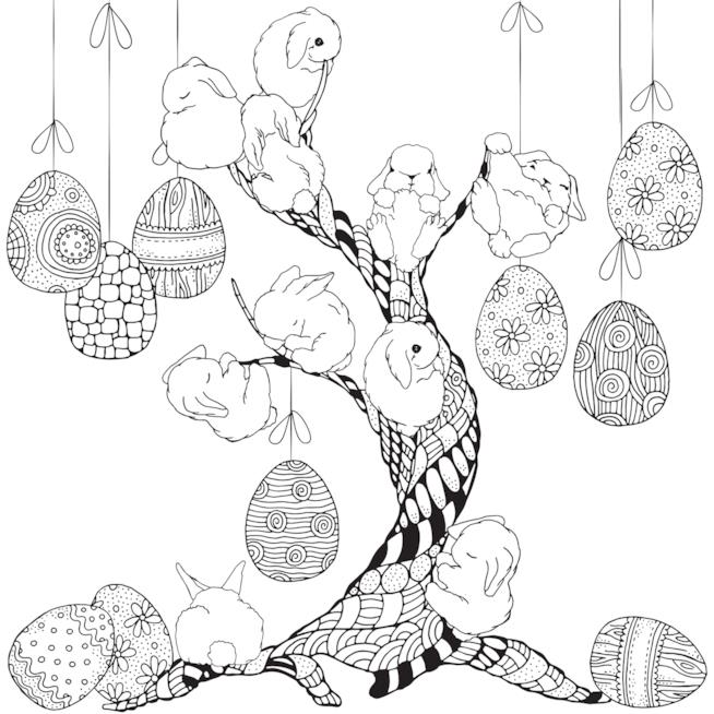 Coniglietti su un albero pasquale