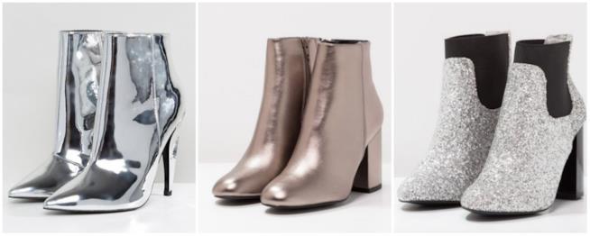 Collage di ankle boots silver e argento, glitterati o non