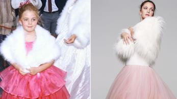 Drew Barrymore con indosso un abito di tulle rosa da bambina e da adulta